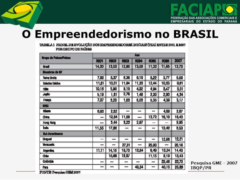 O Empreendedorismo no BRASIL Pesquisa GME - 2007 IBQP/PR