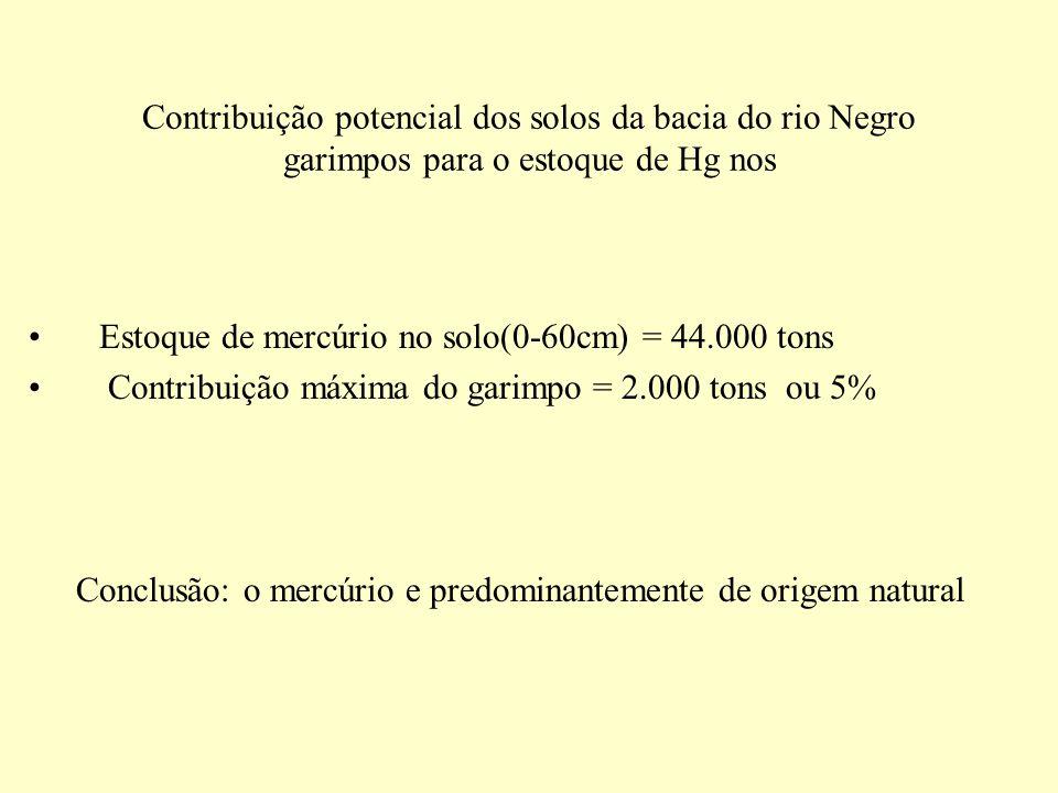 Contribuição potencial dos solos da bacia do rio Negro garimpos para o estoque de Hg nos Estoque de mercúrio no solo(0-60cm) = 44.000 tons Contribuiçã
