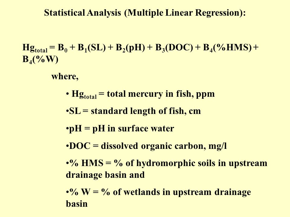 Statistical Analysis (Multiple Linear Regression): Hg total = B 0 + B 1 (SL) + B 2 (pH) + B 3 (DOC) + B 4 (%HMS) + B 4 (%W) where, Hg total = total me