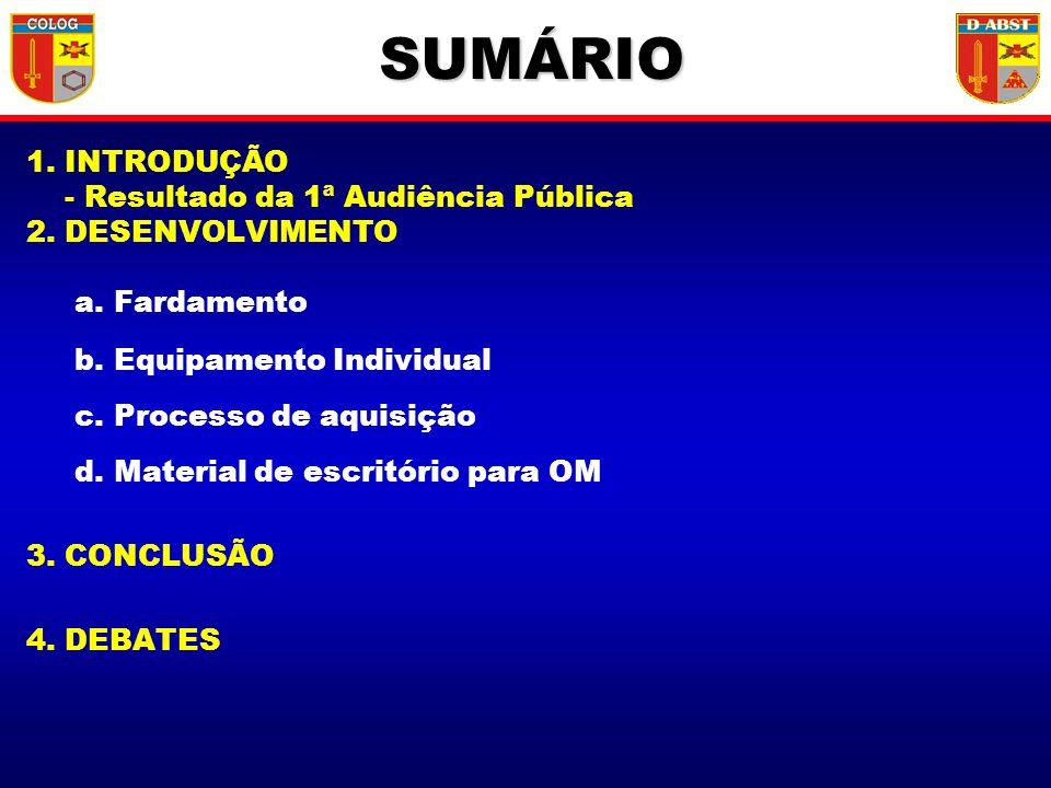 1. INTRODUÇÃO - Resultado da 1ª Audiência Pública 2. DESENVOLVIMENTO a. Fardamento b. Equipamento Individual c. Processo de aquisição d. Material de e
