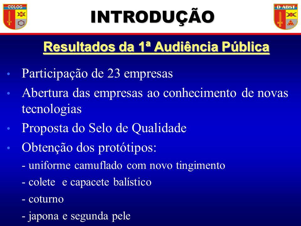 Resultados da 1ª Audiência Pública Participação de 23 empresas Abertura das empresas ao conhecimento de novas tecnologias Proposta do Selo de Qualidad