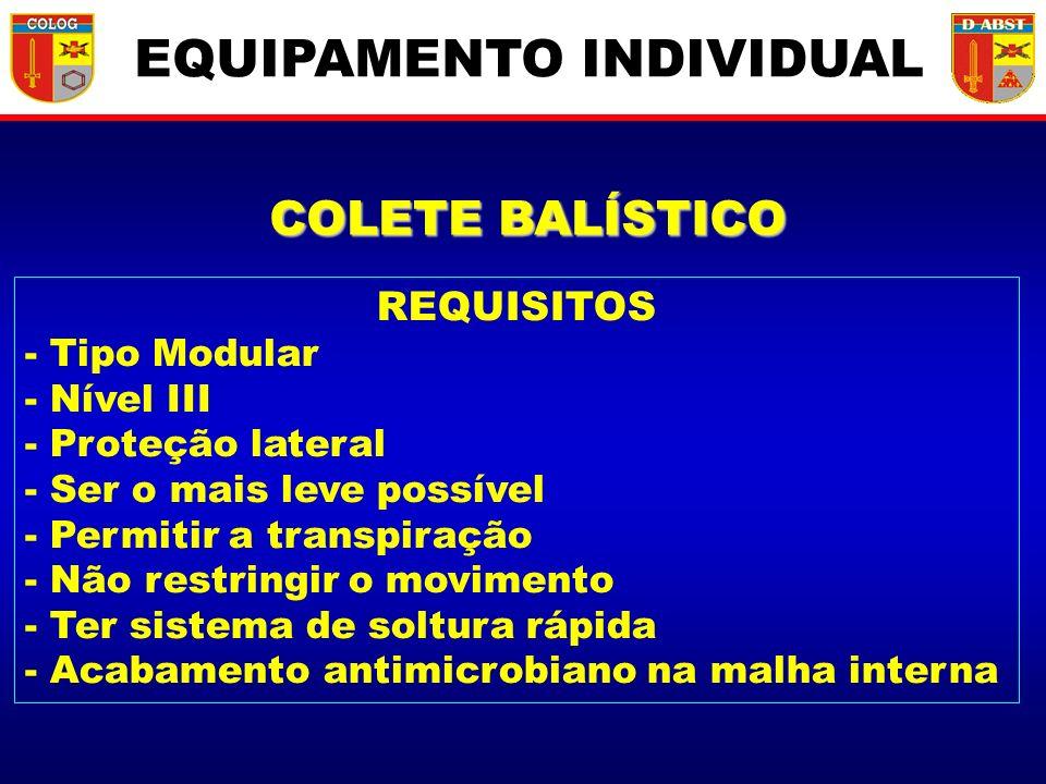 COLETE BALÍSTICO REQUISITOS - Tipo Modular - Nível III - Proteção lateral - Ser o mais leve possível - Permitir a transpiração - Não restringir o movi