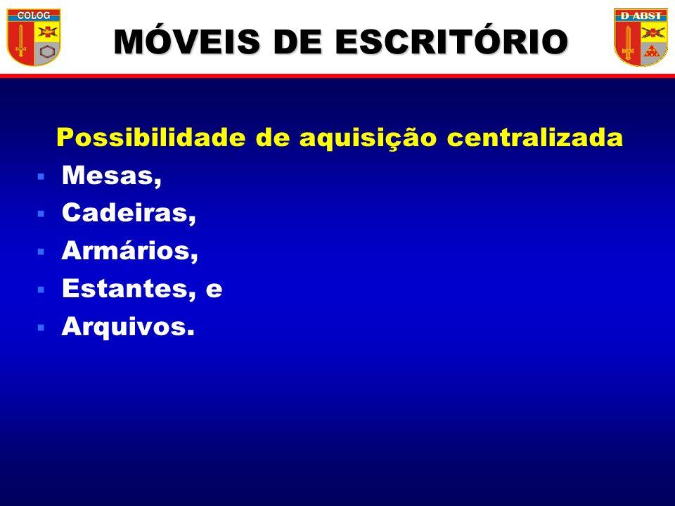 Possibilidade de aquisição centralizada Mesas, Cadeiras, Armários, Estantes, e Arquivos. MÓVEIS DE ESCRITÓRIO
