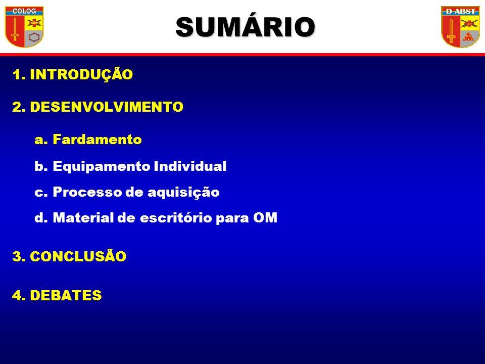 1. INTRODUÇÃO 2. DESENVOLVIMENTO a. Fardamento b. Equipamento Individual c. Processo de aquisição d. Material de escritório para OM 3. CONCLUSÃO 4. DE