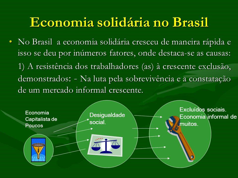 Economia solidária no Brasil No Brasil a economia solidária cresceu de maneira rápida e isso se deu por inúmeros fatores, onde destaca-se as causas:No