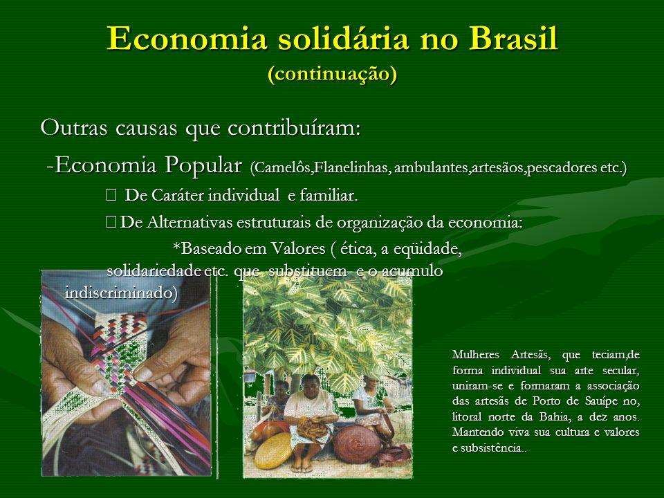 Economia solidária no Brasil (continuação) Outras causas que contribuíram: -Economia Popular (Camelôs,Flanelinhas, ambulantes,artesãos,pescadores etc.