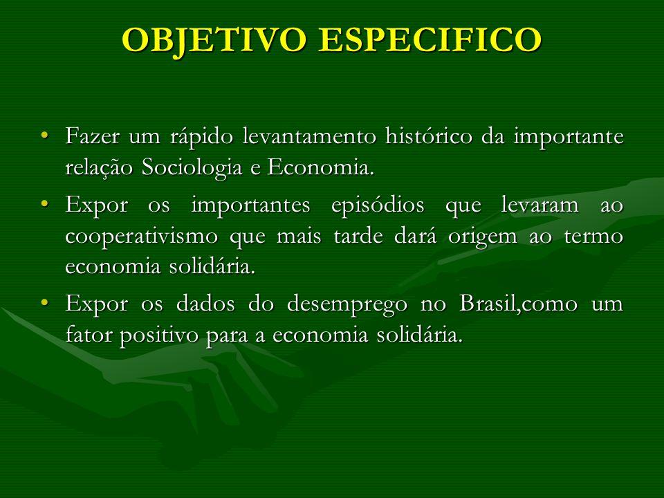 OBJETIVO ESPECIFICO Fazer um rápido levantamento histórico da importante relação Sociologia e Economia.Fazer um rápido levantamento histórico da impor