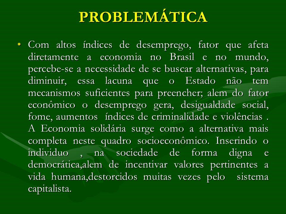 PROBLEMÁTICA Com altos índices de desemprego, fator que afeta diretamente a economia no Brasil e no mundo, percebe-se a necessidade de se buscar alter