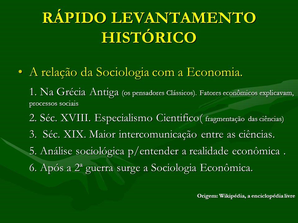 RÁPIDO LEVANTAMENTO HISTÓRICO A relação da Sociologia com a Economia.A relação da Sociologia com a Economia. 1. Na Grécia Antiga (os pensadores Clássi
