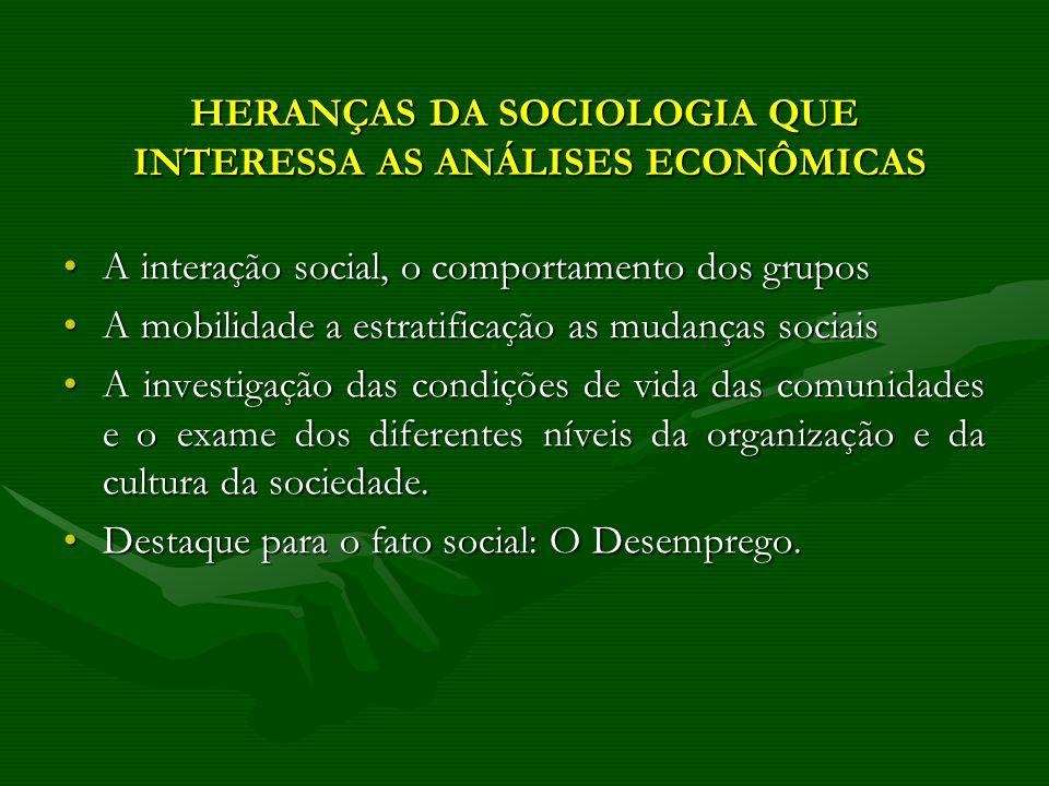 HERANÇAS DA SOCIOLOGIA QUE INTERESSA AS ANÁLISES ECONÔMICAS A interação social, o comportamento dos gruposA interação social, o comportamento dos grup