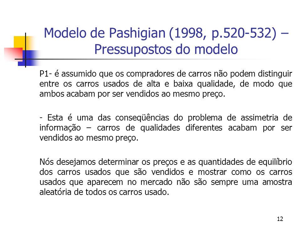 12 Modelo de Pashigian (1998, p.520-532) – Pressupostos do modelo P1- é assumido que os compradores de carros não podem distinguir entre os carros usados de alta e baixa qualidade, de modo que ambos acabam por ser vendidos ao mesmo preço.