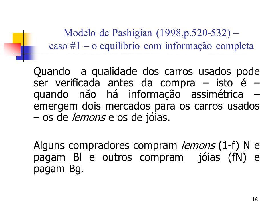 18 Modelo de Pashigian (1998,p.520-532) – caso #1 – o equilíbrio com informação completa Quando a qualidade dos carros usados pode ser verificada ante