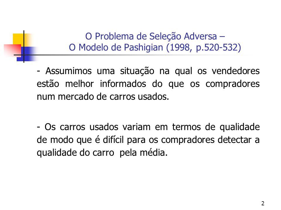 2 O Problema de Seleção Adversa – O Modelo de Pashigian (1998, p.520-532) - Assumimos uma situação na qual os vendedores estão melhor informados do que os compradores num mercado de carros usados.