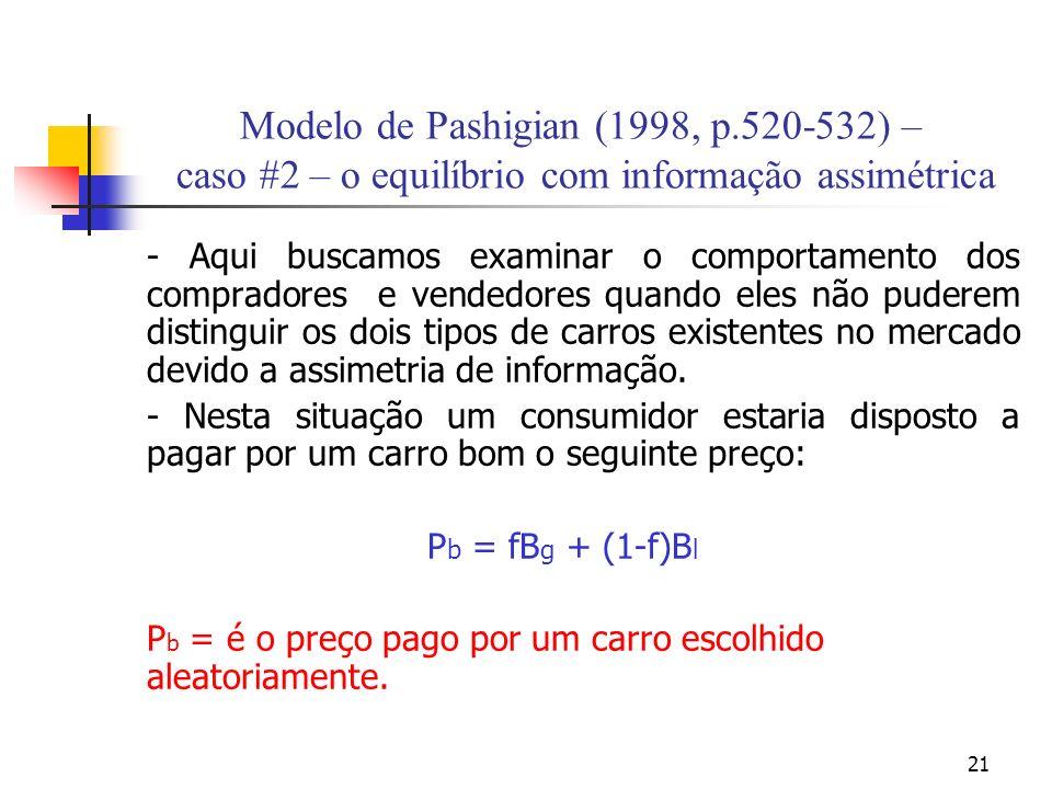 21 Modelo de Pashigian (1998, p.520-532) – caso #2 – o equilíbrio com informação assimétrica - Aqui buscamos examinar o comportamento dos compradores e vendedores quando eles não puderem distinguir os dois tipos de carros existentes no mercado devido a assimetria de informação.
