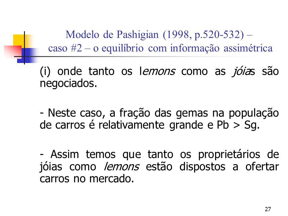 27 Modelo de Pashigian (1998, p.520-532) – caso #2 – o equilíbrio com informação assimétrica (i) onde tanto os lemons como as jóias são negociados. -