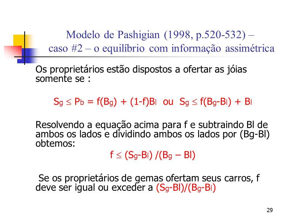 29 Modelo de Pashigian (1998, p.520-532) – caso #2 – o equilíbrio com informação assimétrica Os proprietários estão dispostos a ofertar as jóias somente se : S g P b = f(B g ) + (1-f)B l ou S g f(B g -B l ) + B l Resolvendo a equação acima para f e subtraindo Bl de ambos os lados e dividindo ambos os lados por (Bg-Bl) obtemos: f (S g -B l ) /(B g – Bl) Se os proprietários de gemas ofertam seus carros, f deve ser igual ou exceder a (S g -Bl)/(B g -B l )