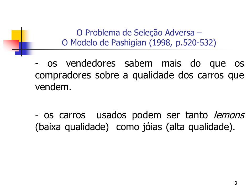 3 O Problema de Seleção Adversa – O Modelo de Pashigian (1998, p.520-532) - os vendedores sabem mais do que os compradores sobre a qualidade dos carros que vendem.