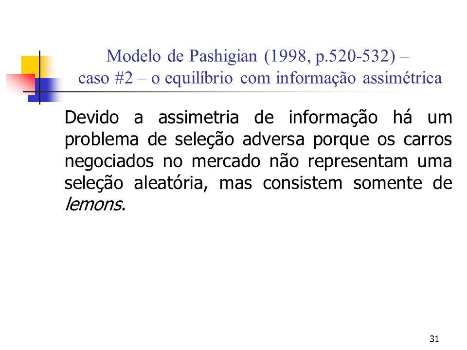 31 Modelo de Pashigian (1998, p.520-532) – caso #2 – o equilíbrio com informação assimétrica Devido a assimetria de informação há um problema de seleç