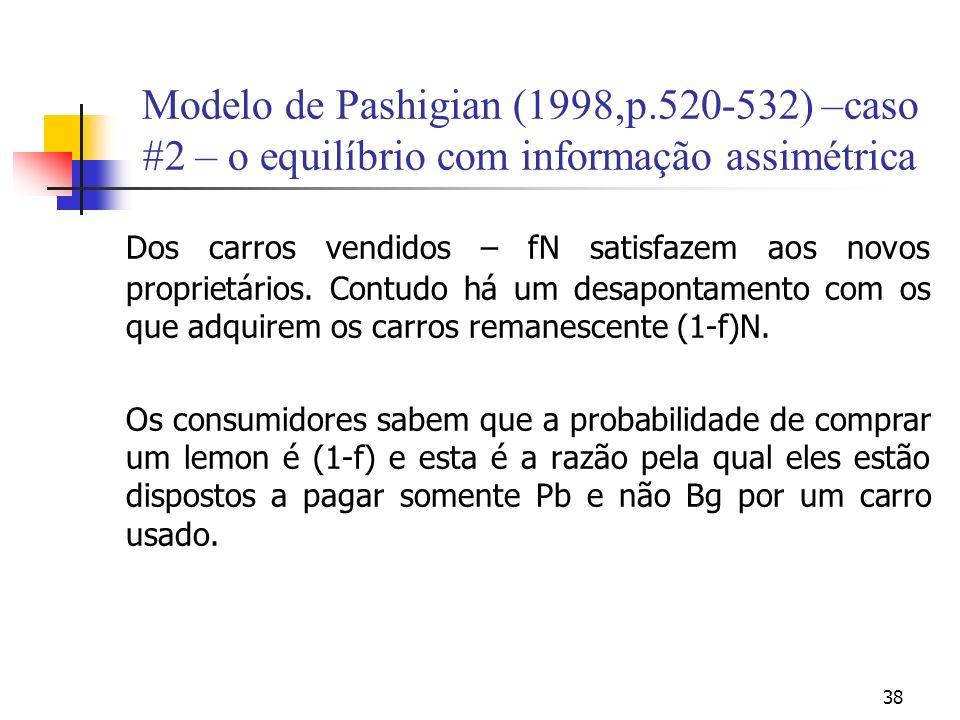 38 Modelo de Pashigian (1998,p.520-532) –caso #2 – o equilíbrio com informação assimétrica Dos carros vendidos – fN satisfazem aos novos proprietários