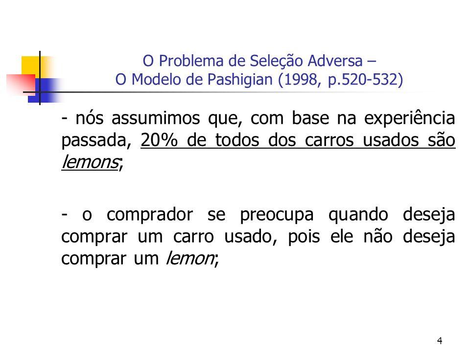 4 O Problema de Seleção Adversa – O Modelo de Pashigian (1998, p.520-532) - nós assumimos que, com base na experiência passada, 20% de todos dos carro