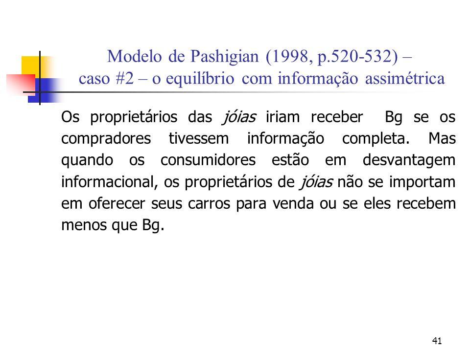 41 Modelo de Pashigian (1998, p.520-532) – caso #2 – o equilíbrio com informação assimétrica Os proprietários das jóias iriam receber Bg se os comprad