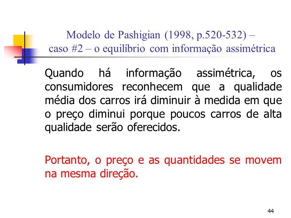 44 Modelo de Pashigian (1998, p.520-532) – caso #2 – o equilíbrio com informação assimétrica Quando há informação assimétrica, os consumidores reconhe