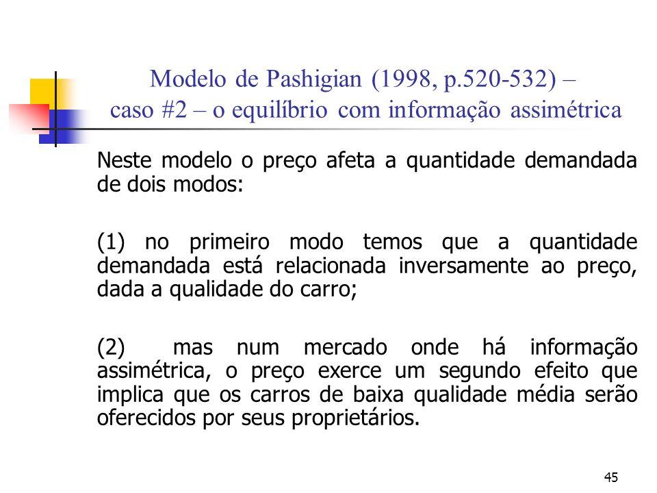45 Modelo de Pashigian (1998, p.520-532) – caso #2 – o equilíbrio com informação assimétrica Neste modelo o preço afeta a quantidade demandada de dois