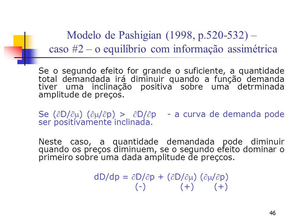 46 Modelo de Pashigian (1998, p.520-532) – caso #2 – o equilíbrio com informação assimétrica Se o segundo efeito for grande o suficiente, a quantidade total demandada irá diminuir quando a função demanda tiver uma inclinação positiva sobre uma detrminada amplitude de preços.