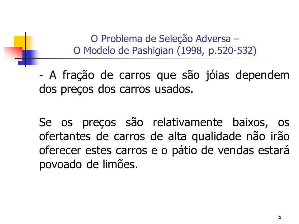5 O Problema de Seleção Adversa – O Modelo de Pashigian (1998, p.520-532) - A fração de carros que são jóias dependem dos preços dos carros usados. Se