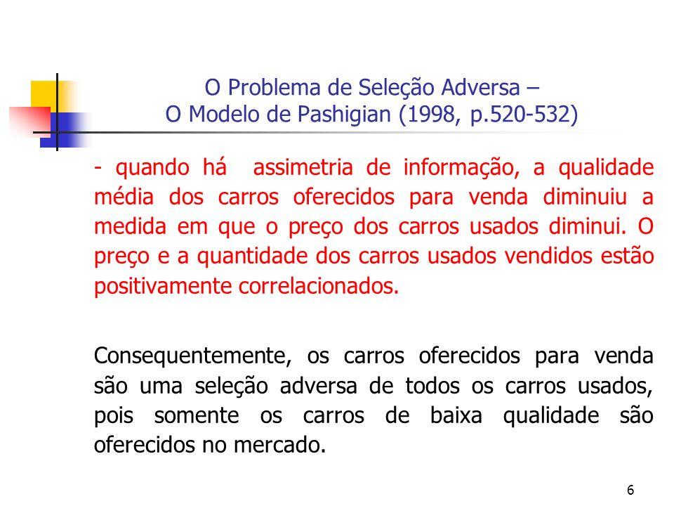 6 O Problema de Seleção Adversa – O Modelo de Pashigian (1998, p.520-532) - quando há assimetria de informação, a qualidade média dos carros oferecidos para venda diminuiu a medida em que o preço dos carros usados diminui.