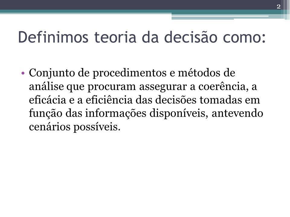 Definimos teoria da decisão como: Conjunto de procedimentos e métodos de análise que procuram assegurar a coerência, a eficácia e a eficiência das dec