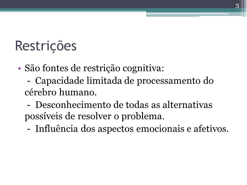 Restrições São fontes de restrição cognitiva: - Capacidade limitada de processamento do cérebro humano. - Desconhecimento de todas as alternativas pos