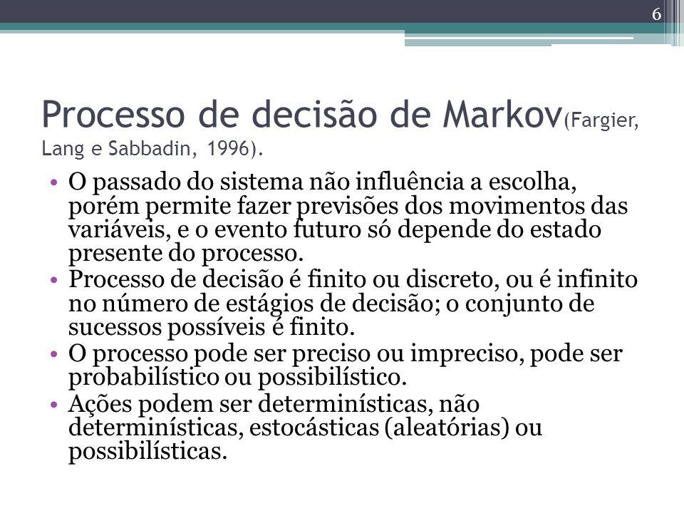 Processo de decisão de Markov (Fargier, Lang e Sabbadin, 1996). O passado do sistema não influência a escolha, porém permite fazer previsões dos movim