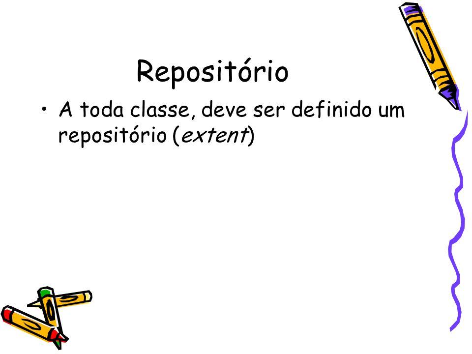 Repositório A toda classe, deve ser definido um repositório (extent)