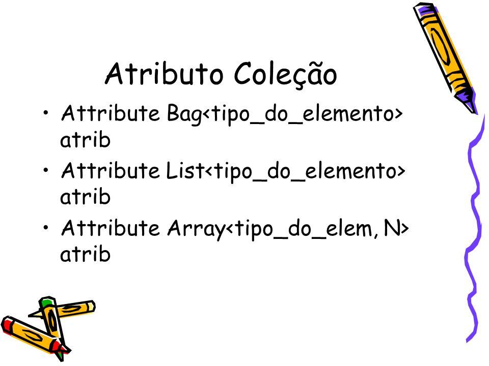 Atributo Coleção Attribute Bag atrib Attribute List atrib Attribute Array atrib