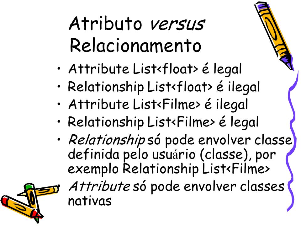 Atributo versus Relacionamento Attribute List é legal Relationship List é ilegal Attribute List é ilegal Relationship List é legal Relationship só pod