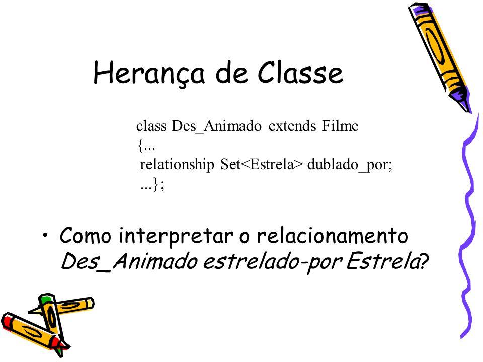 Herança de Classe Como interpretar o relacionamento Des_Animado estrelado-por Estrela? class Des_Animado extends Filme {... relationship Set dublado_p