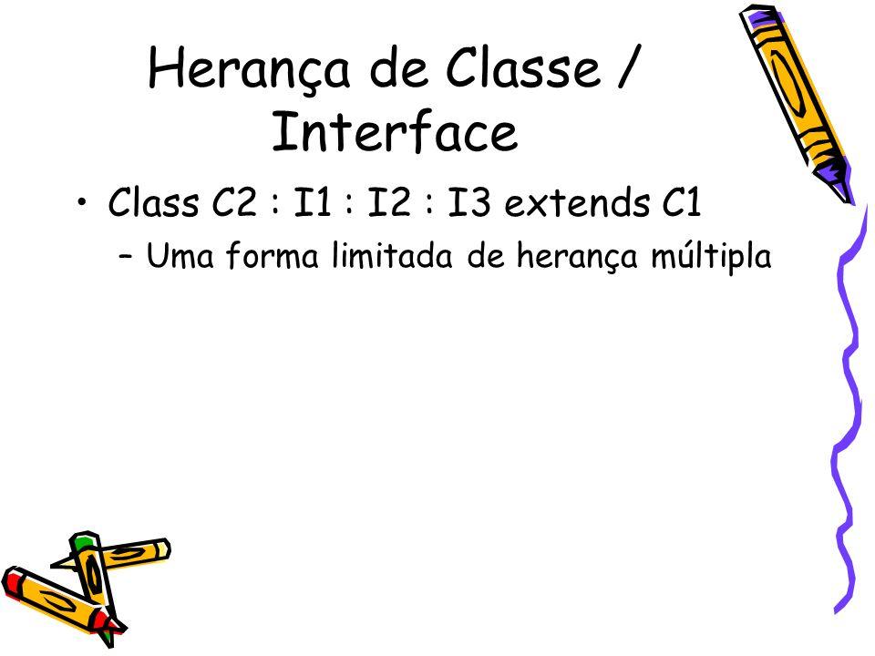 Herança de Classe / Interface Class C2 : I1 : I2 : I3 extends C1 –Uma forma limitada de herança múltipla
