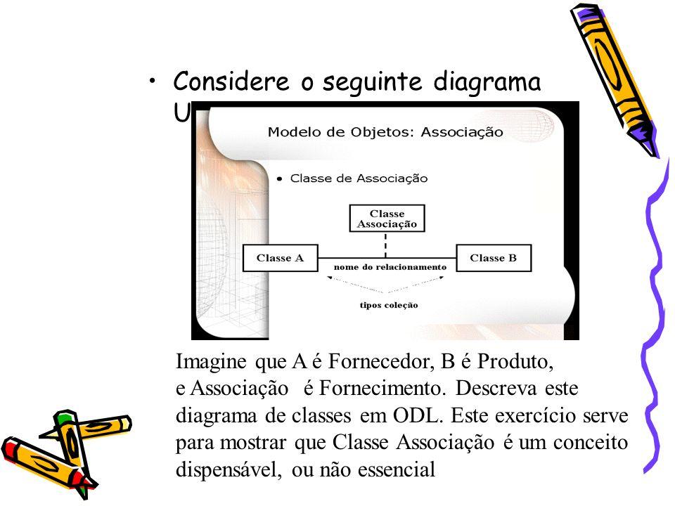 Considere o seguinte diagrama UML Imagine que A é Fornecedor, B é Produto, e Associação é Fornecimento. Descreva este diagrama de classes em ODL. Este