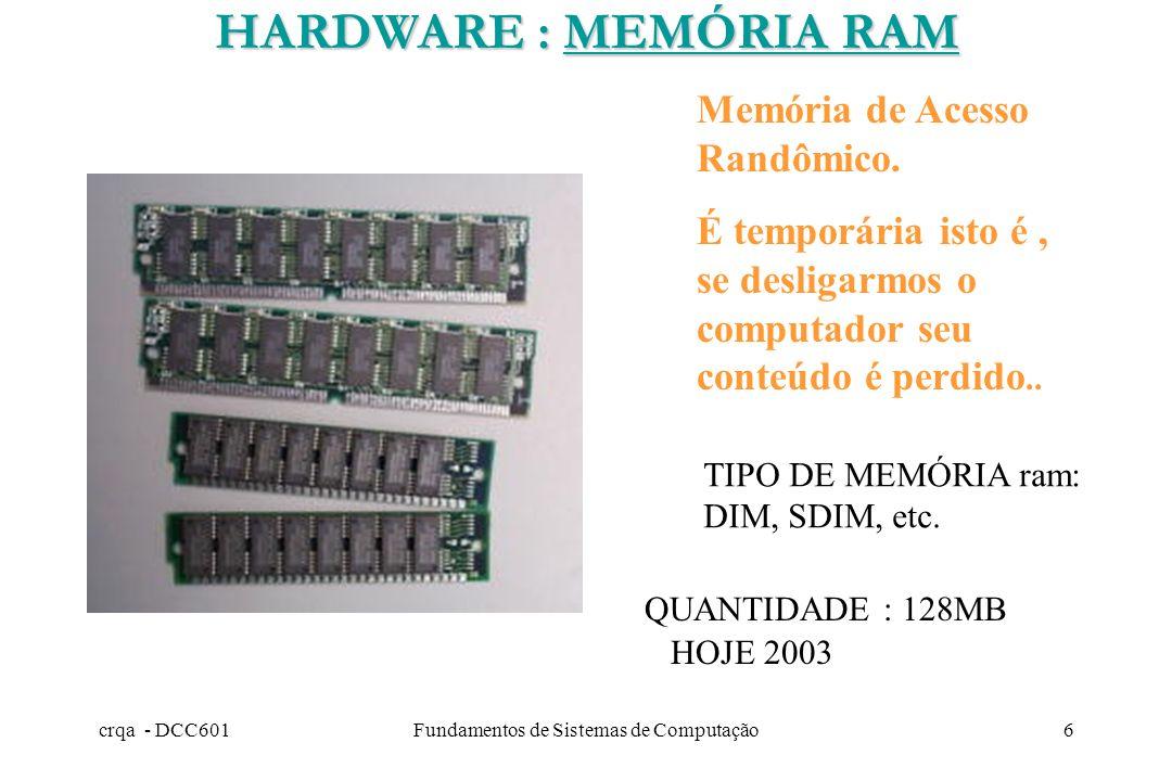 crqa - DCC601Fundamentos de Sistemas de Computação5 ROM 2.- MEMÓRIA PRINCIPAL TIPOS RAM 1.- MEMÓRIA SECUNDÁRIA : nào conectada com o processador DISQU