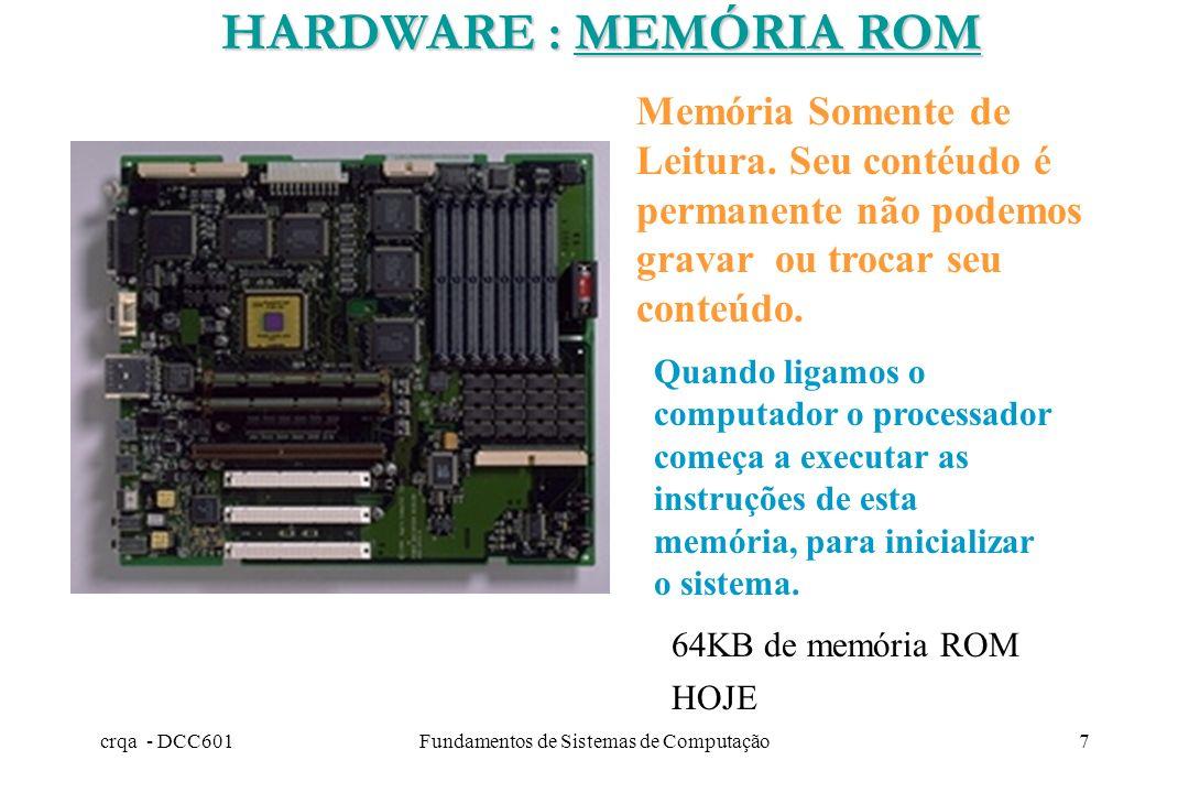 crqa - DCC601Fundamentos de Sistemas de Computação6 Memória de Acesso Randômico. É temporária isto é, se desligarmos o computador seu conteúdo é perdi