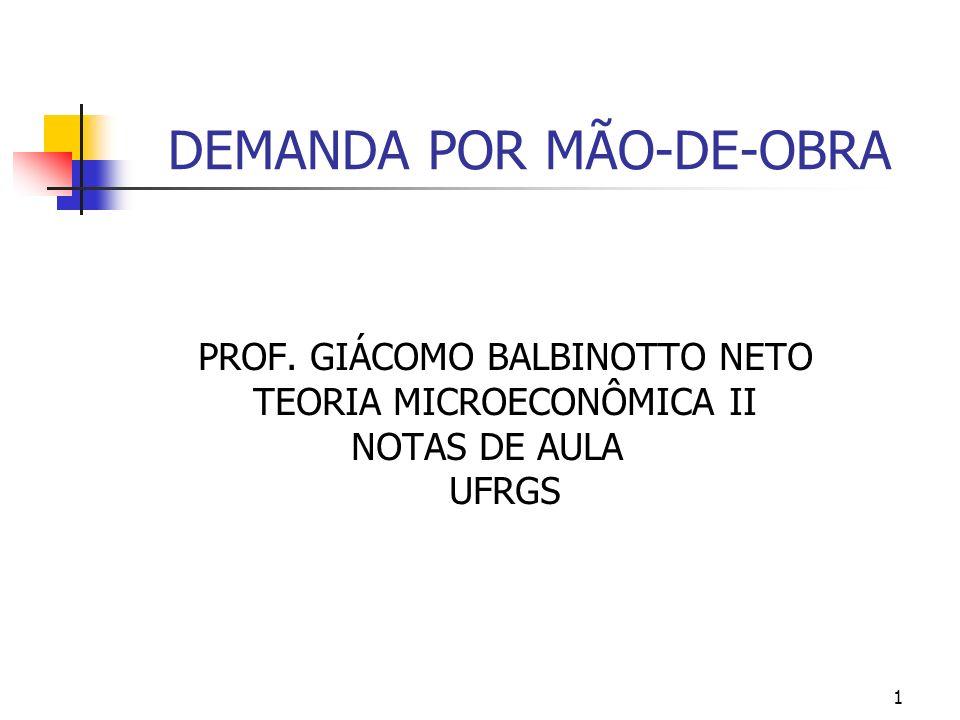 1 DEMANDA POR MÃO-DE-OBRA PROF. GIÁCOMO BALBINOTTO NETO TEORIA MICROECONÔMICA II NOTAS DE AULA UFRGS