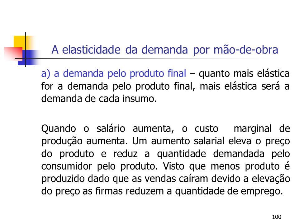 100 A elasticidade da demanda por mão-de-obra a) a demanda pelo produto final – quanto mais elástica for a demanda pelo produto final, mais elástica s
