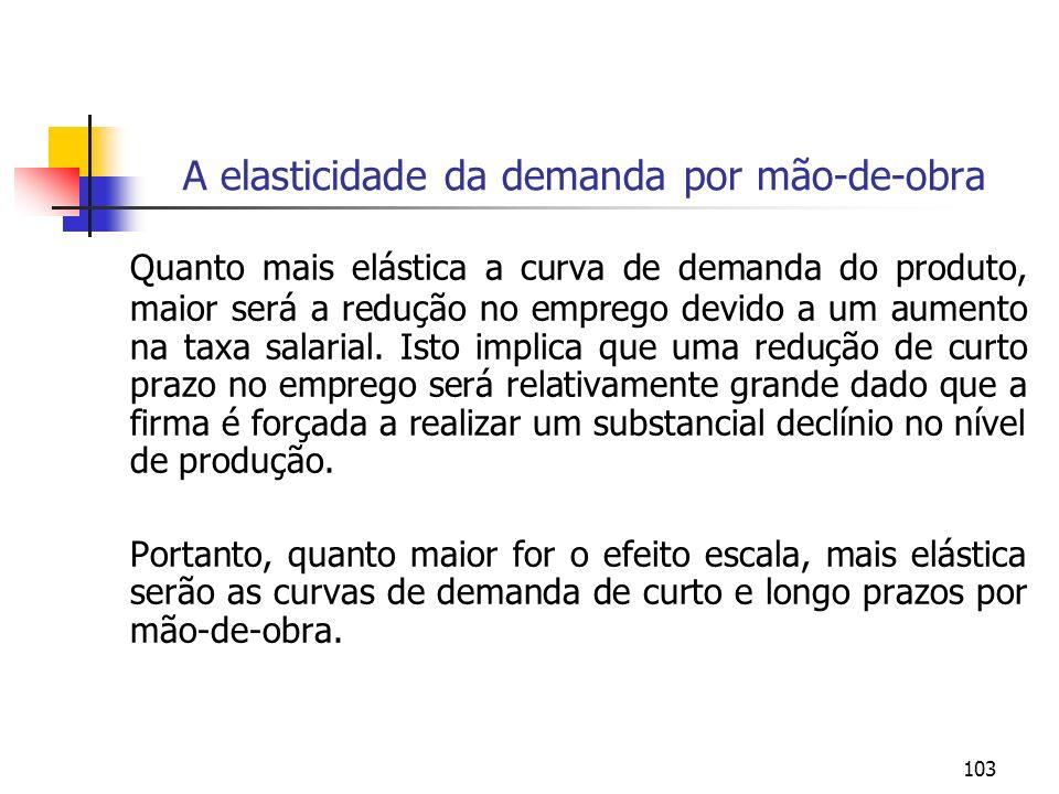 103 A elasticidade da demanda por mão-de-obra Quanto mais elástica a curva de demanda do produto, maior será a redução no emprego devido a um aumento