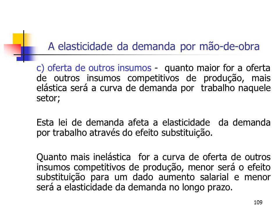 109 A elasticidade da demanda por mão-de-obra c) oferta de outros insumos - quanto maior for a oferta de outros insumos competitivos de produção, mais
