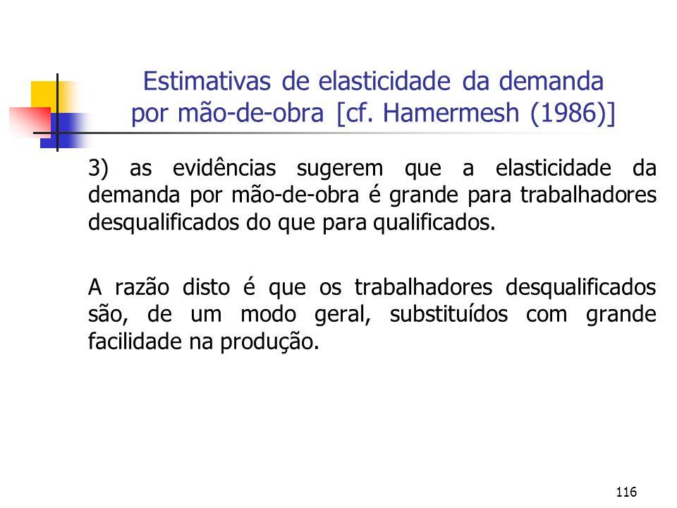 116 Estimativas de elasticidade da demanda por mão-de-obra [cf. Hamermesh (1986)] 3) as evidências sugerem que a elasticidade da demanda por mão-de-ob