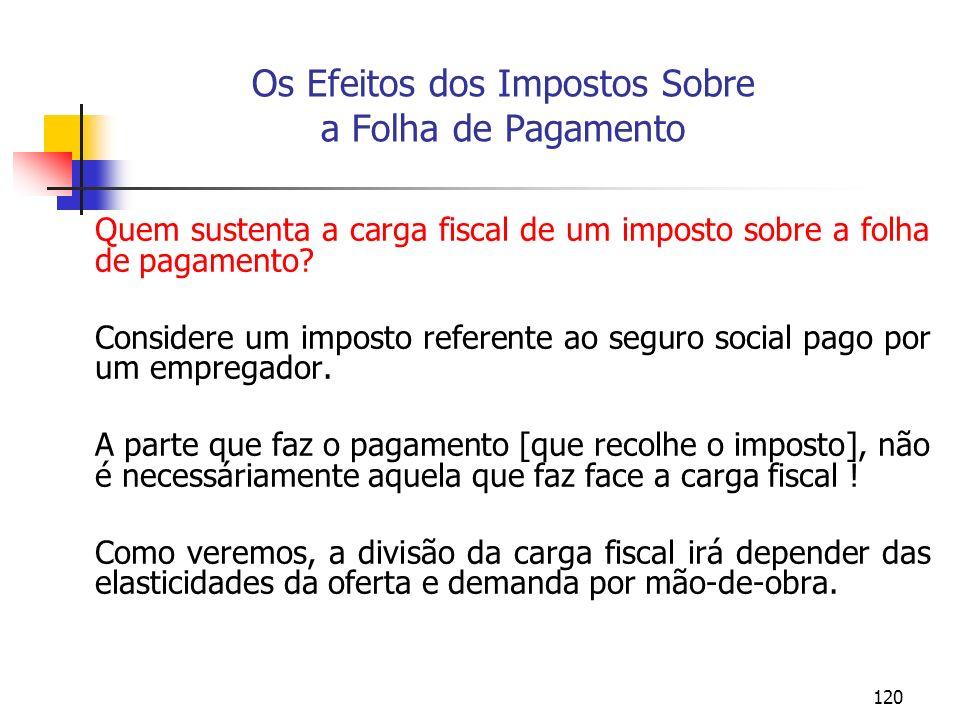 120 Os Efeitos dos Impostos Sobre a Folha de Pagamento Quem sustenta a carga fiscal de um imposto sobre a folha de pagamento? Considere um imposto ref