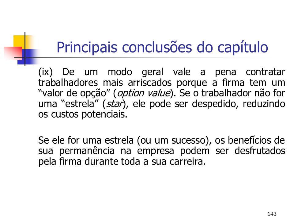 143 Principais conclusões do capítulo (ix) De um modo geral vale a pena contratar trabalhadores mais arriscados porque a firma tem um valor de opção (