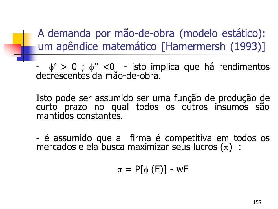 153 A demanda por mão-de-obra (modelo estático): um apêndice matemático [Hamermersh (1993)] - > 0 ; <0 - isto implica que há rendimentos decrescentes