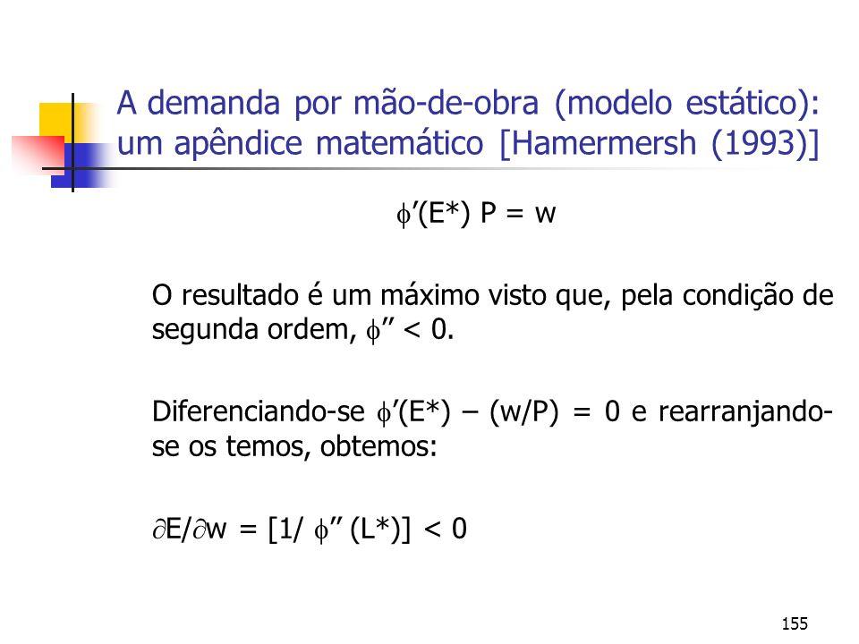 155 A demanda por mão-de-obra (modelo estático): um apêndice matemático [Hamermersh (1993)] (E*) P = w O resultado é um máximo visto que, pela condiçã